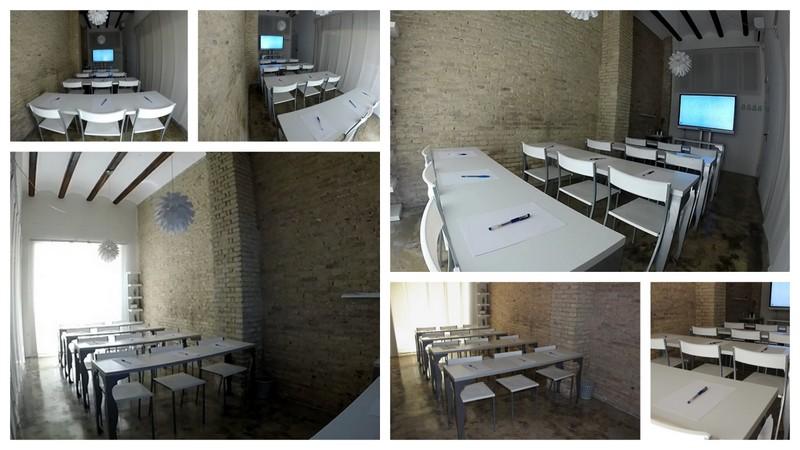 Coworking Valencia. Sala de reuniones. Disposición en aula