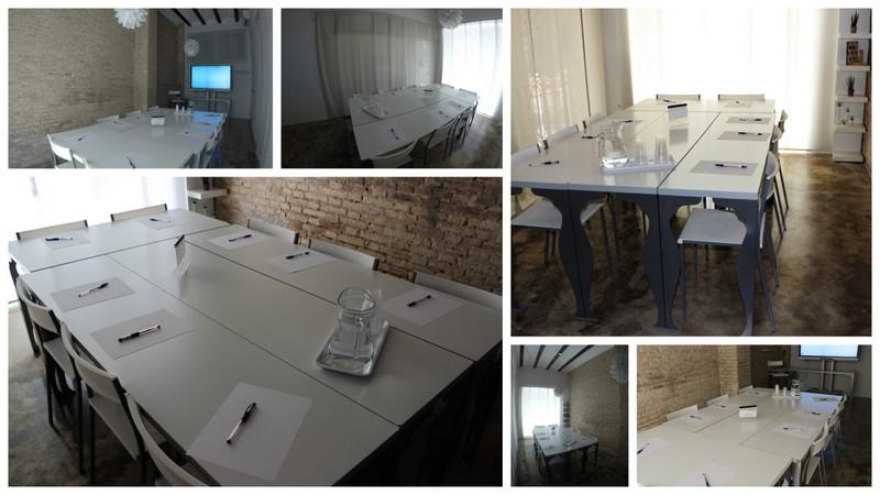 Coworking Valencia. Sala de reuniones. Disposición mesa grande de trabajo