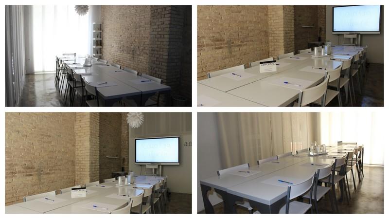 Coworking Valencia. Sala de reuniones. Disposición mesa juntas