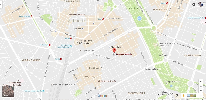 Plano - Ubicación Google CoworkingValencia