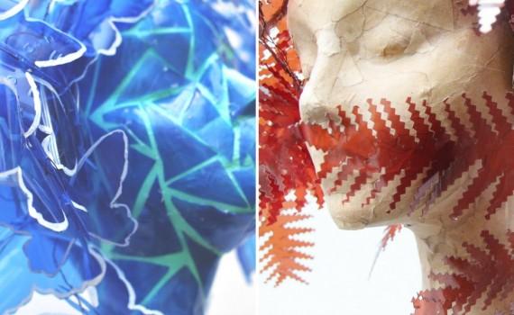 Helechos y mariposas con material reciclado